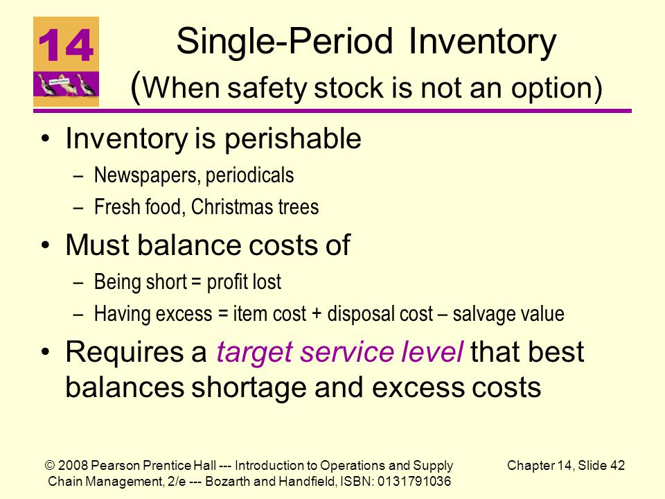 Single-Period Inventory (When safety stock is not an option)