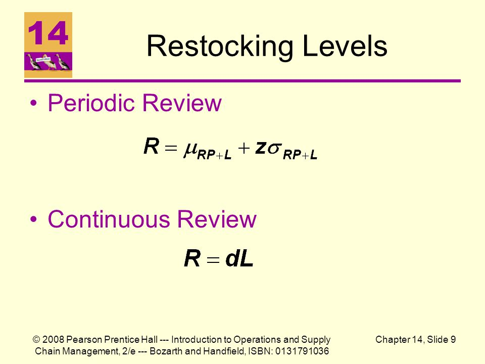 Restocking Levels Periodic Review Continuous Review