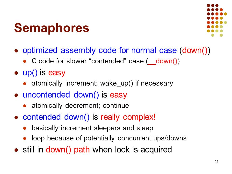 Semaphores optimized assembly code for normal case (down())
