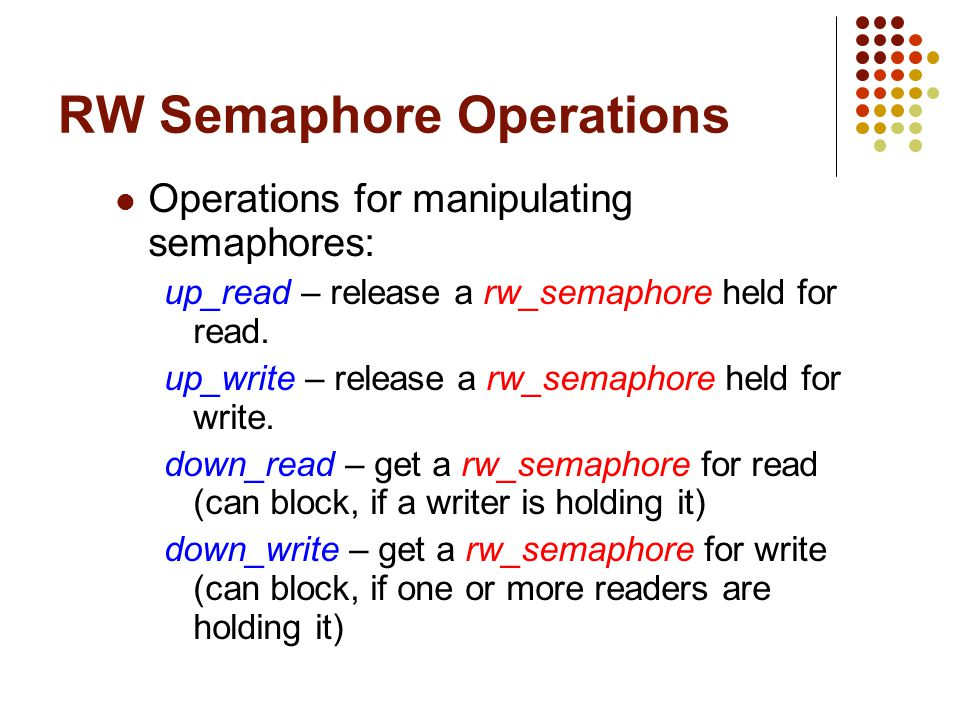RW Semaphore Operations