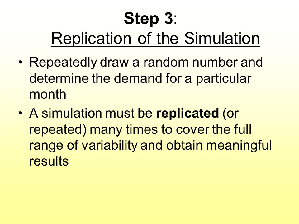 Step 3: Replication of the Simulation