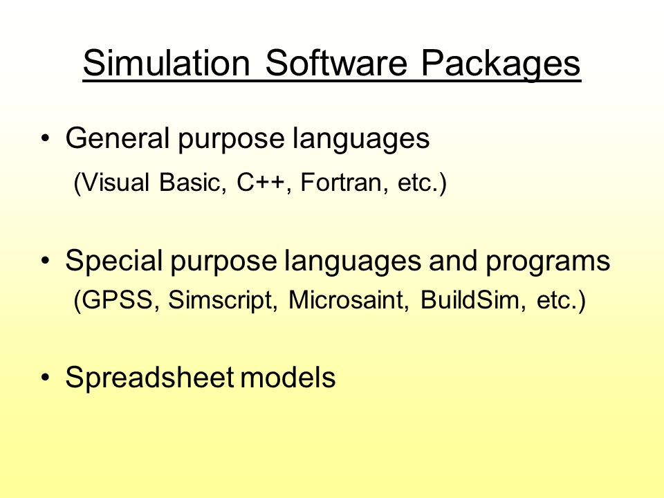 Simulation Software Packages