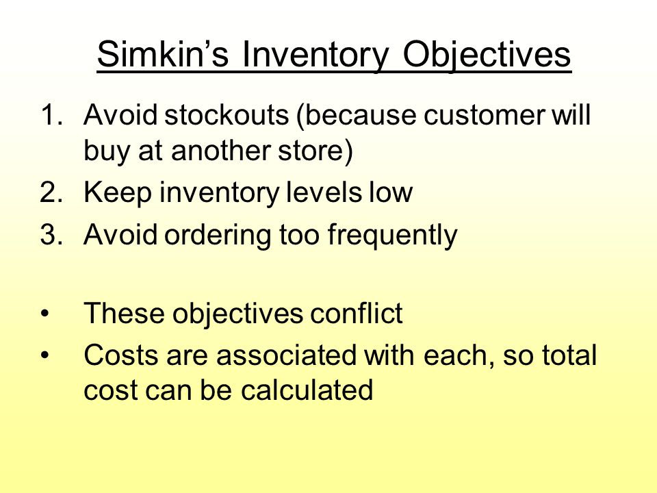Simkin's Inventory Objectives