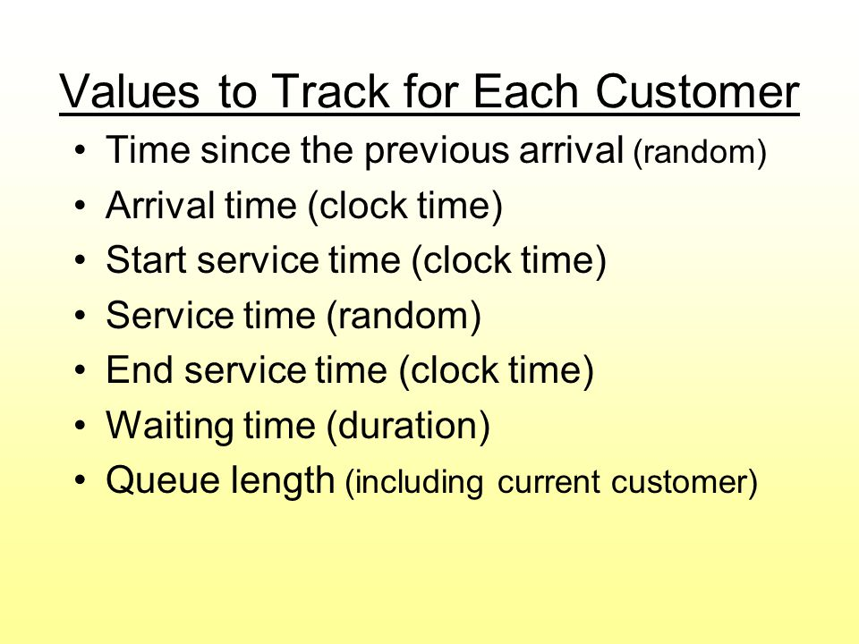 Values to Track for Each Customer