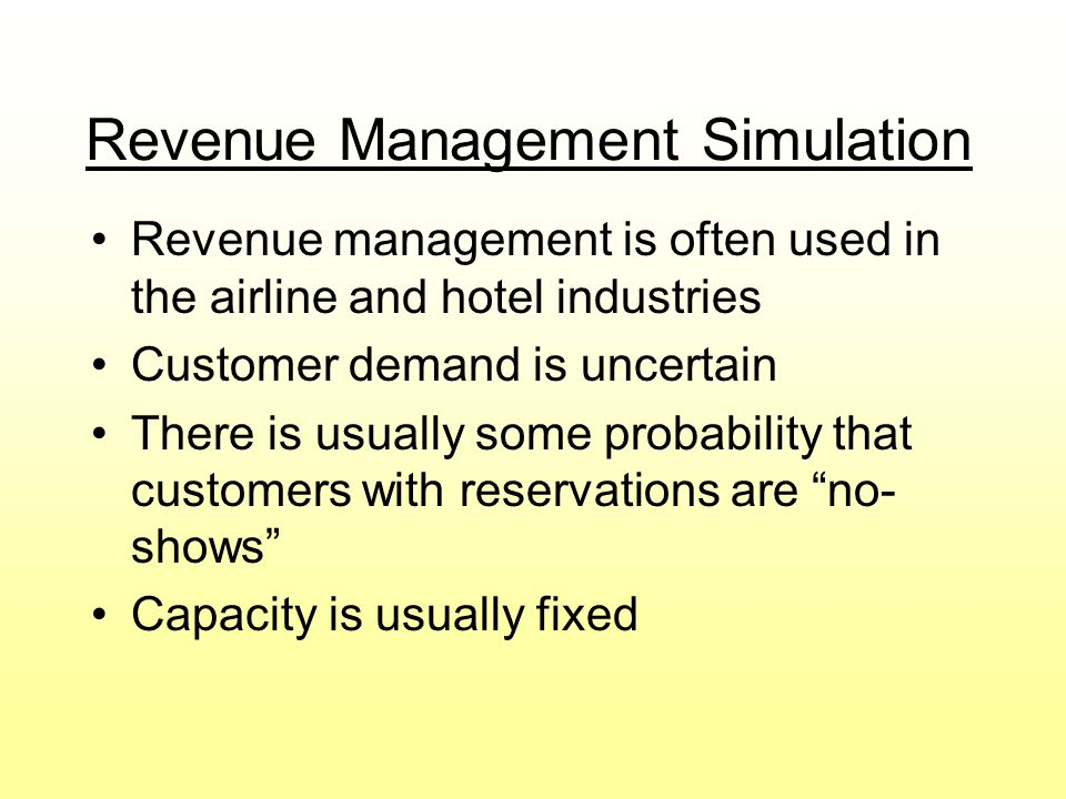 Revenue Management Simulation