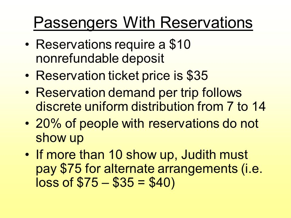 Passengers With Reservations
