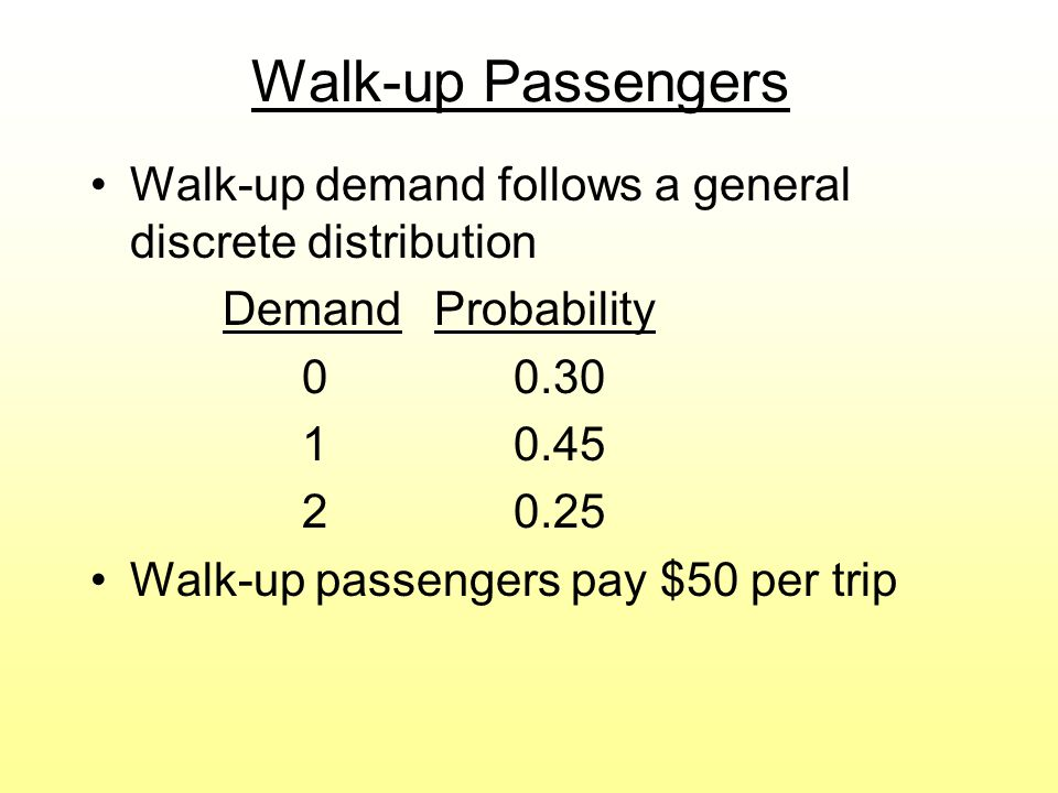 Walk-up Passengers Walk-up demand follows a general discrete distribution. Demand Probability. 0 0.30.