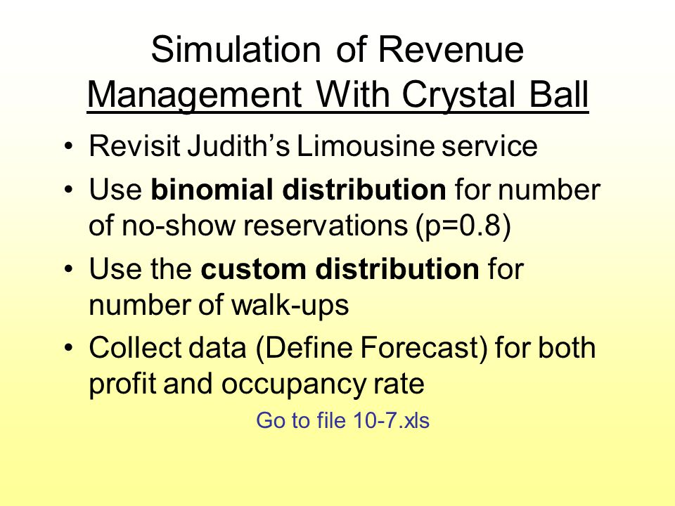 Simulation of Revenue Management With Crystal Ball