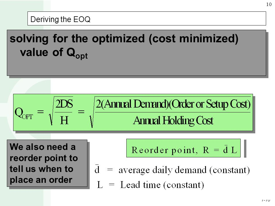 solving for the optimized (cost minimized) value of Qopt