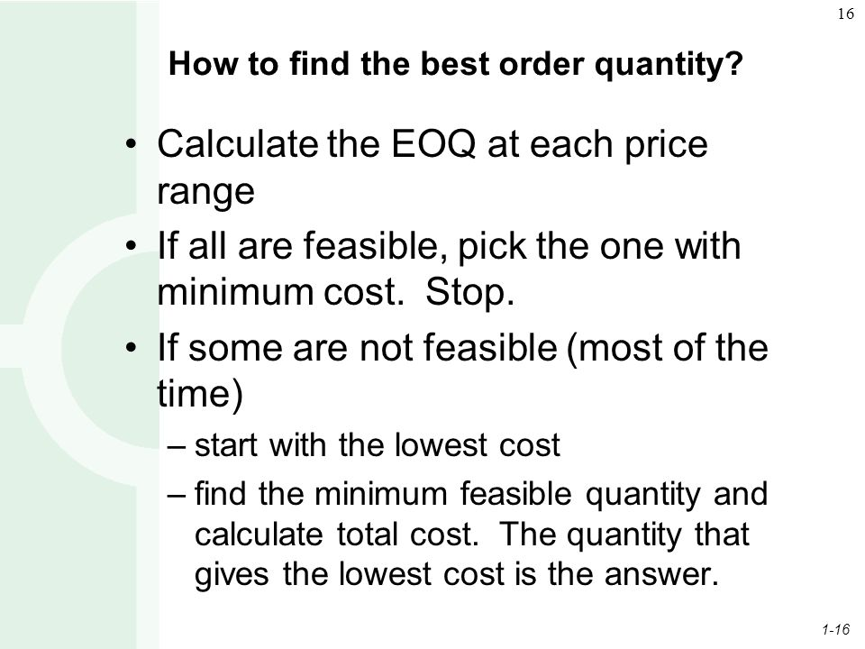 How to find the best order quantity