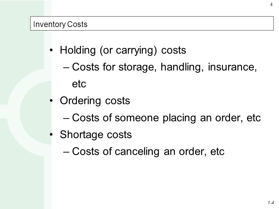 Holding (or carrying) costs