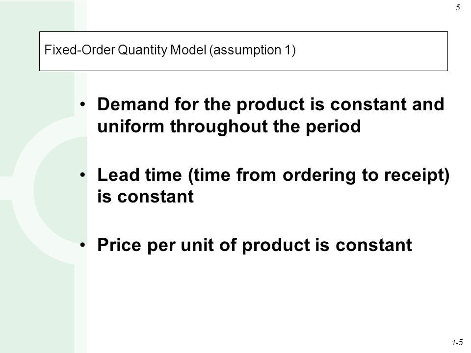 Fixed-Order Quantity Model (assumption 1)