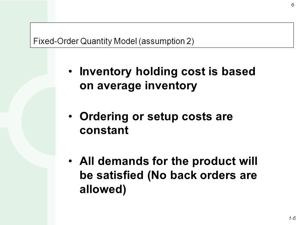 Fixed-Order Quantity Model (assumption 2)