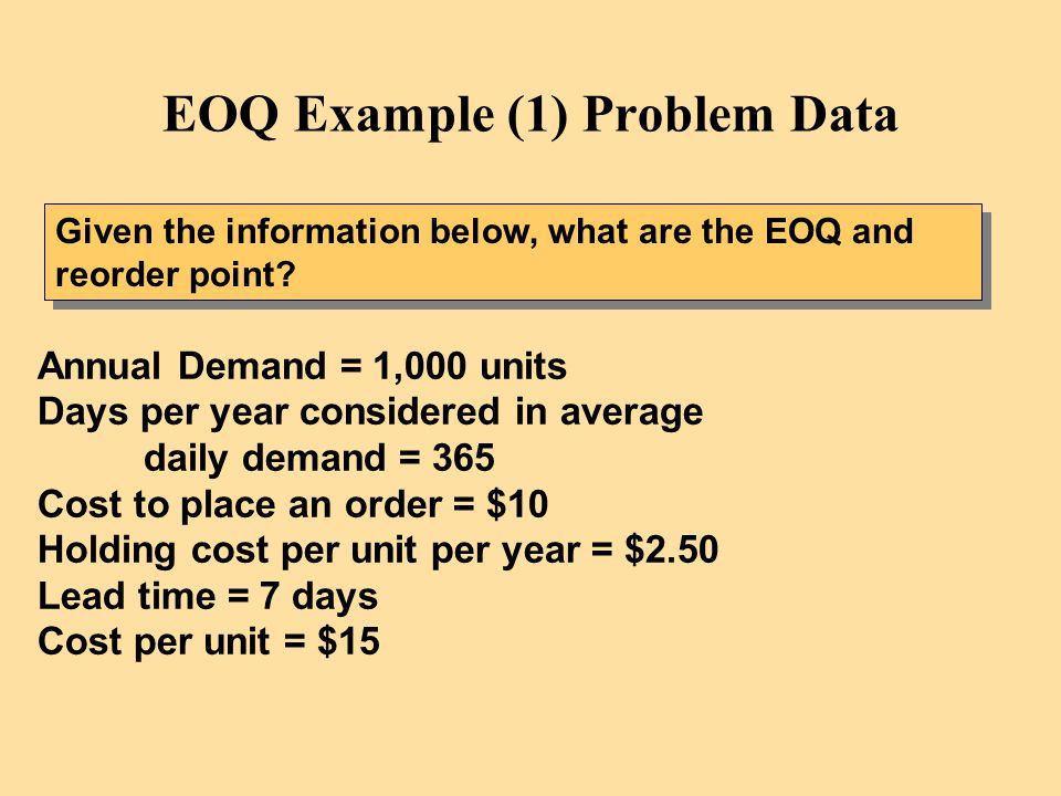 EOQ Example (1) Problem Data