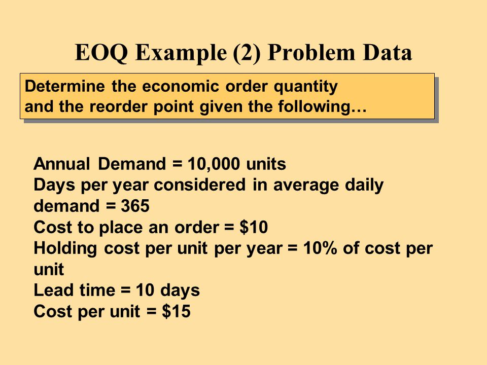 EOQ Example (2) Problem Data