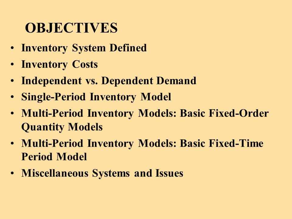 OBJECTIVES Inventory System Defined Inventory Costs