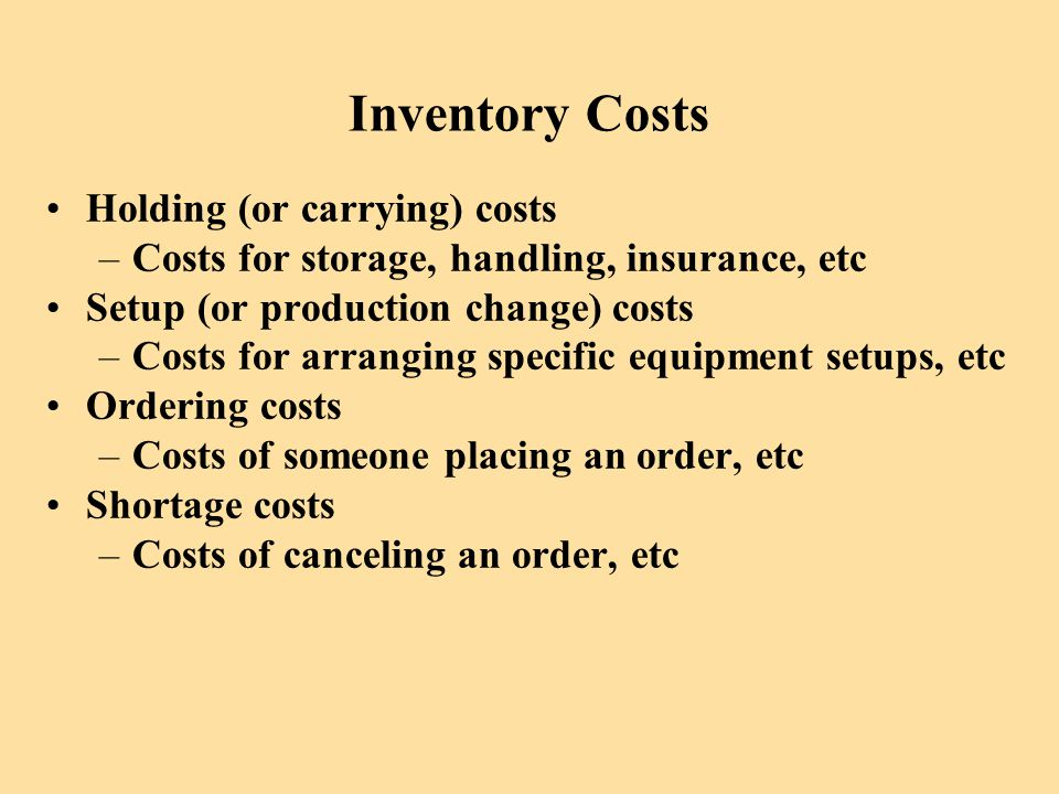 Inventory Costs Holding (or carrying) costs
