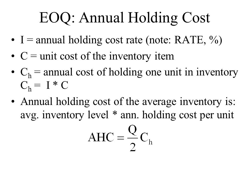 EOQ: Annual Holding Cost