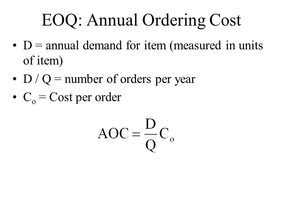 EOQ: Annual Ordering Cost