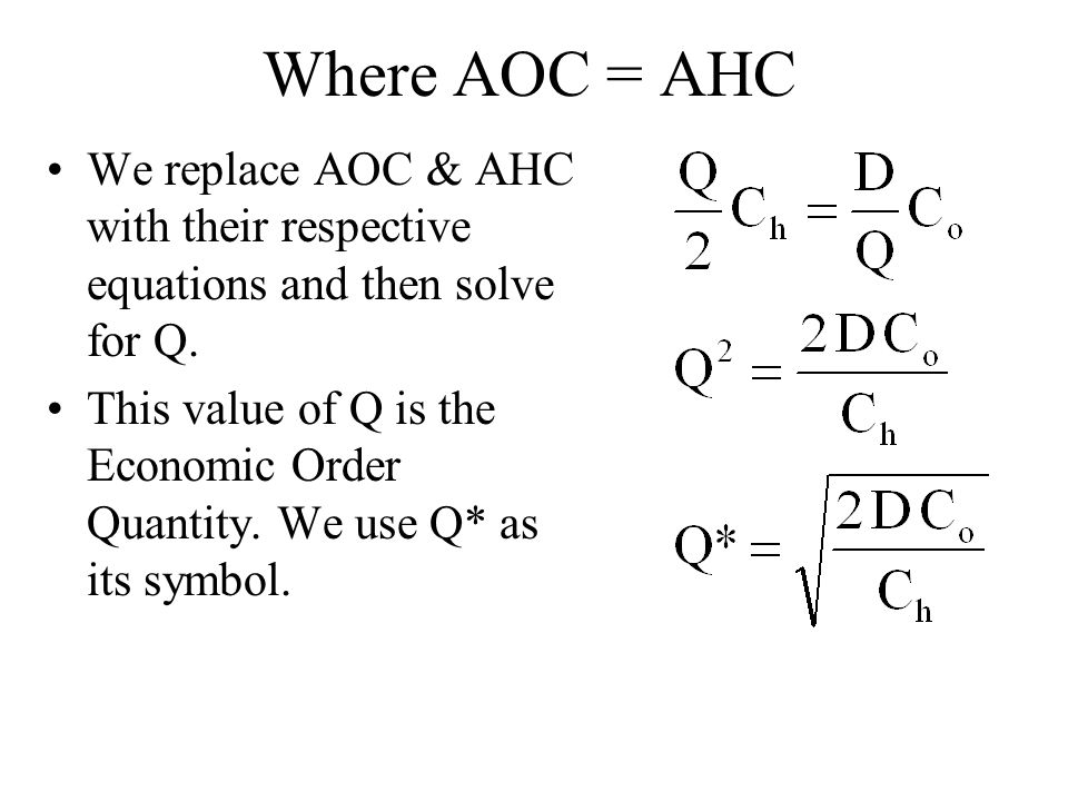 Where AOC = AHC We replace AOC & AHC with their respective equations and then solve for Q.