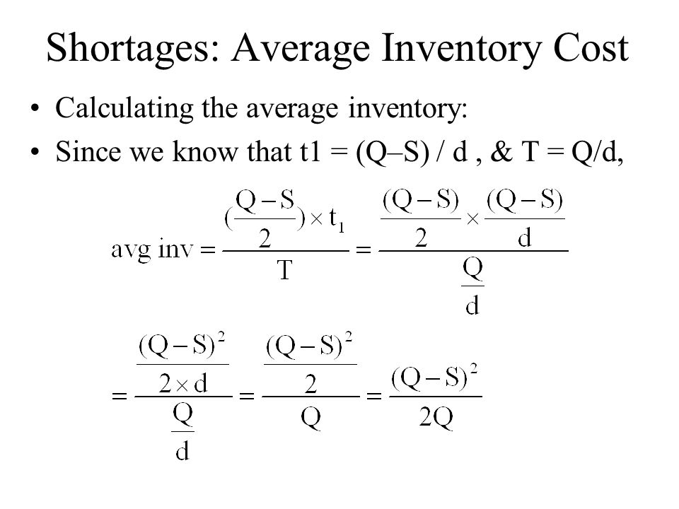 Shortages: Average Inventory Cost