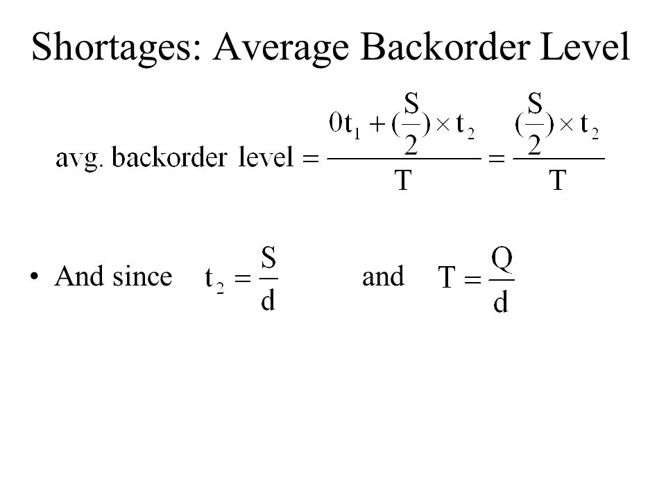 Shortages: Average Backorder Level