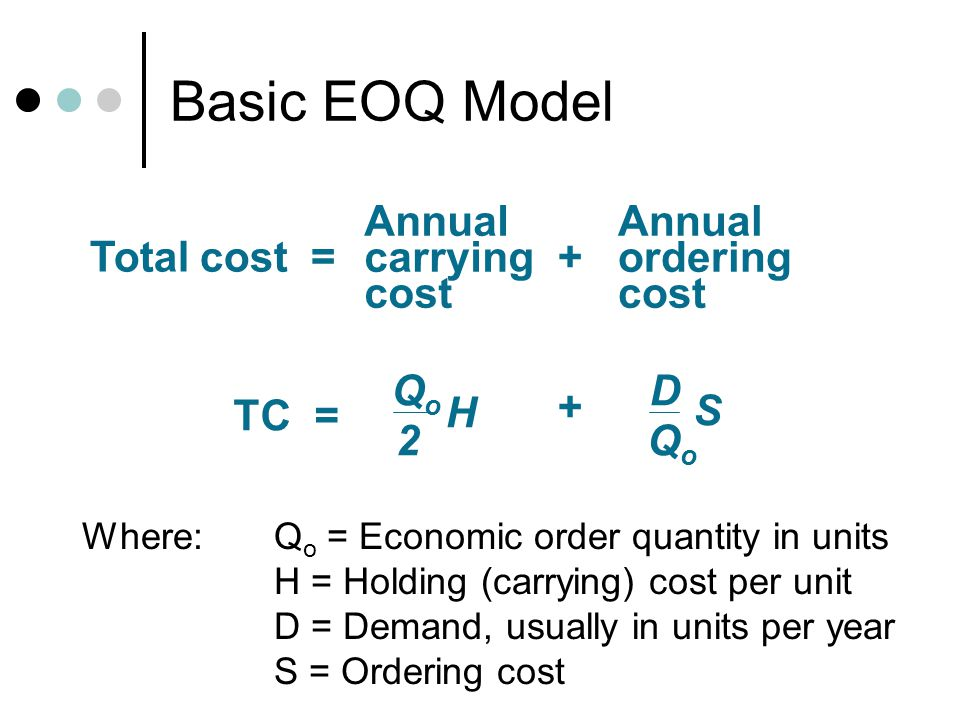 Basic EOQ Model Annual carrying cost ordering Total cost = + Qo 2 H D