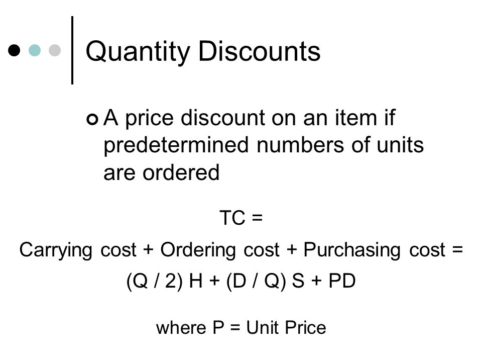Carrying cost + Ordering cost + Purchasing cost =