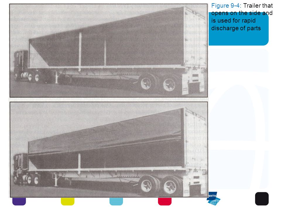 Figure 9-4: Trailer that opens on the side and is used for rapid discharge of parts