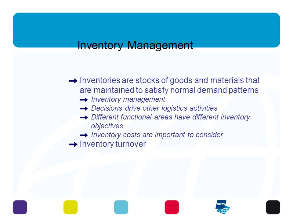 Inventory Management Inventories are stocks of goods and materials that are maintained to satisfy normal demand patterns.