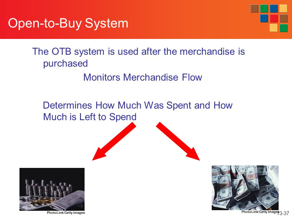 Open-to-Buy System The OTB system is used after the merchandise is purchased. Monitors Merchandise Flow.
