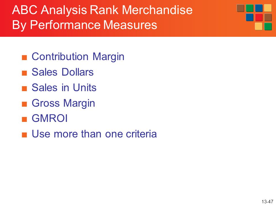ABC Analysis Rank Merchandise By Performance Measures