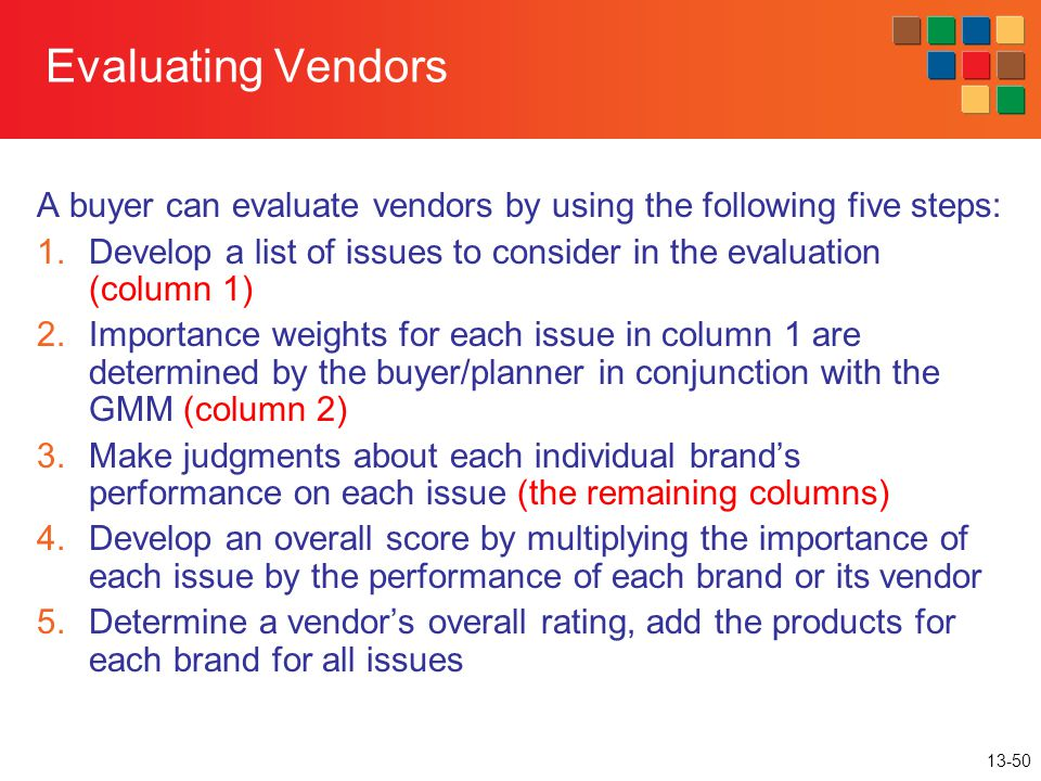 Evaluating Vendors A buyer can evaluate vendors by using the following five steps: Develop a list of issues to consider in the evaluation (column 1)