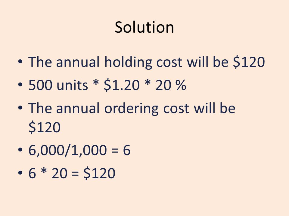 Solution The annual holding cost will be $120 500 units * $1.20 * 20 %