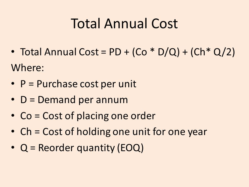Total Annual Cost Total Annual Cost = PD + (Co * D/Q) + (Ch* Q/2)
