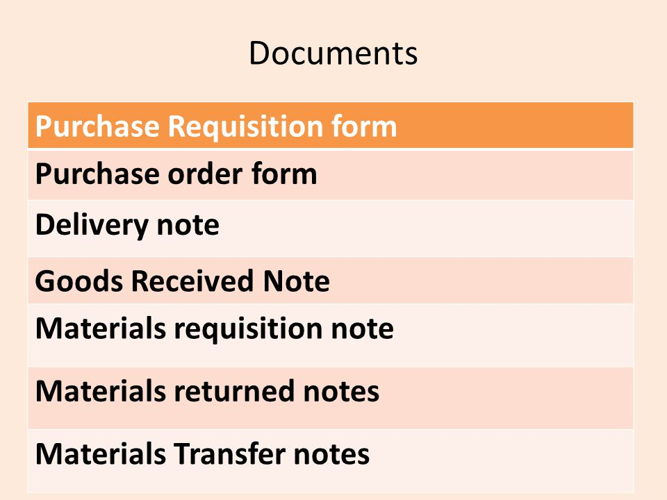 Documents Purchase Requisition form Purchase order form Delivery note