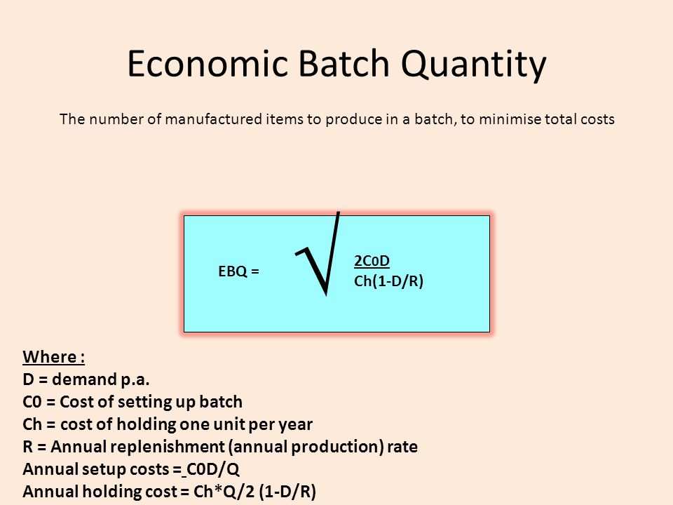 Economic Batch Quantity