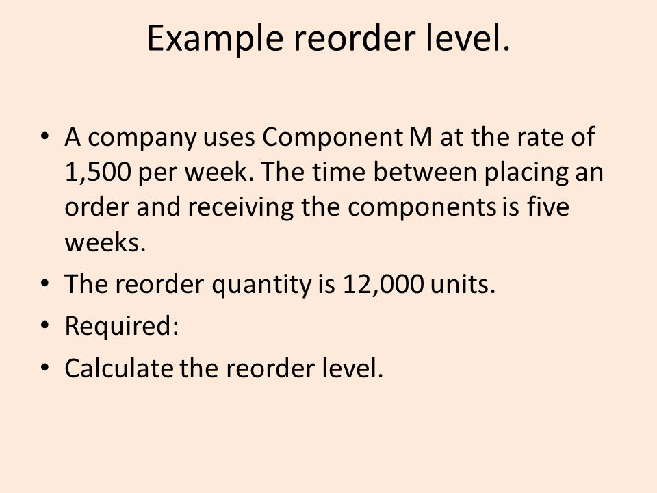 Example reorder level.