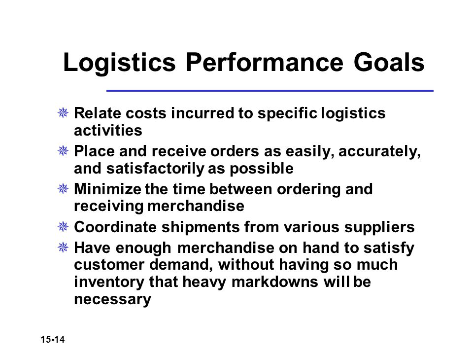 Logistics Performance Goals