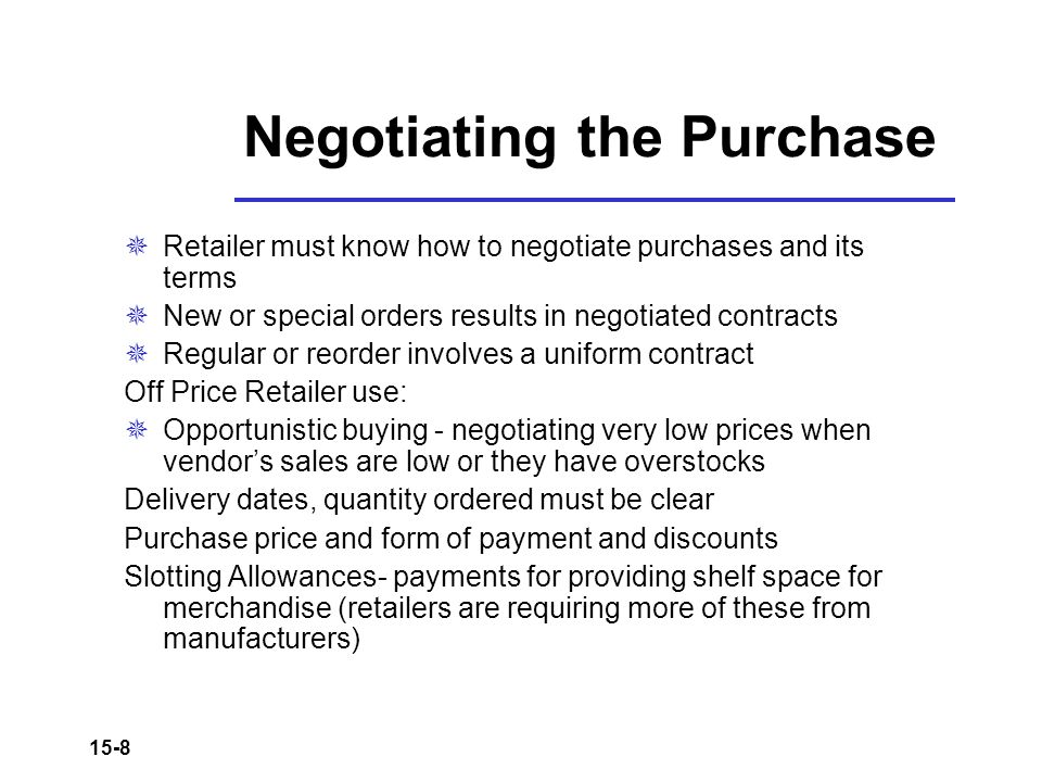 Negotiating the Purchase