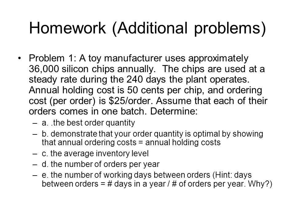 Homework (Additional problems)
