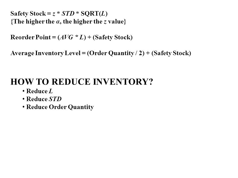 HOW TO REDUCE INVENTORY