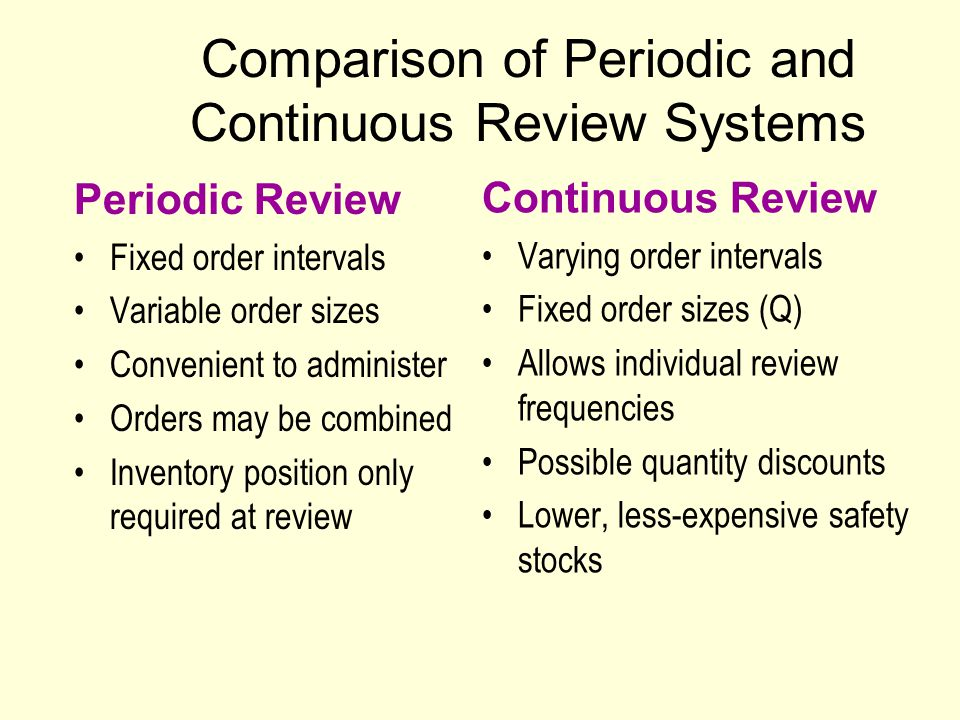 continuous review and periodic review system comparison Other reviews and surveys of supply chain disruptions exist  (for continuous- time models) or the disruption and recovery probabilities (for discrete-time  models)  show that approximating this system using a single-period model  causes.