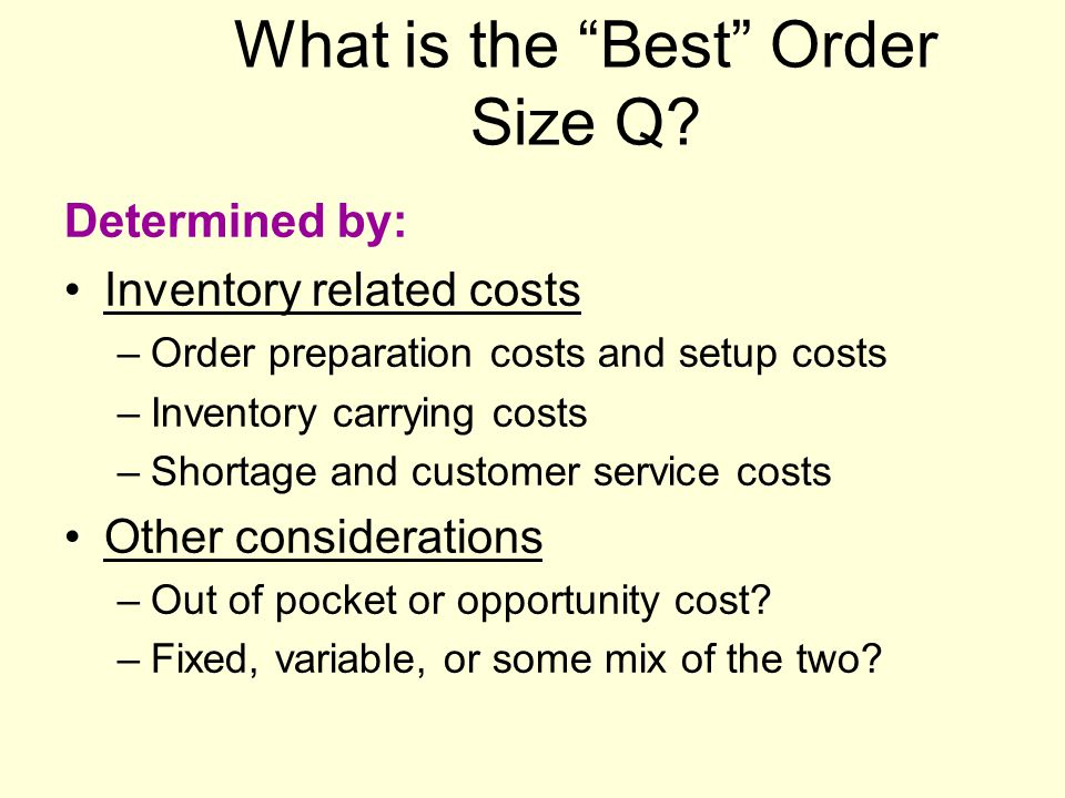What is the Best Order Size Q