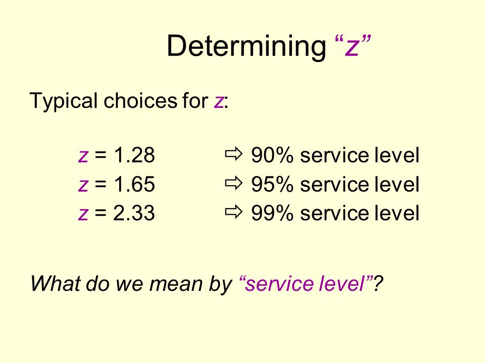 Determining z Typical choices for z: z = 1.28  90% service level z = 1.65  95% service level z = 2.33  99% service level.
