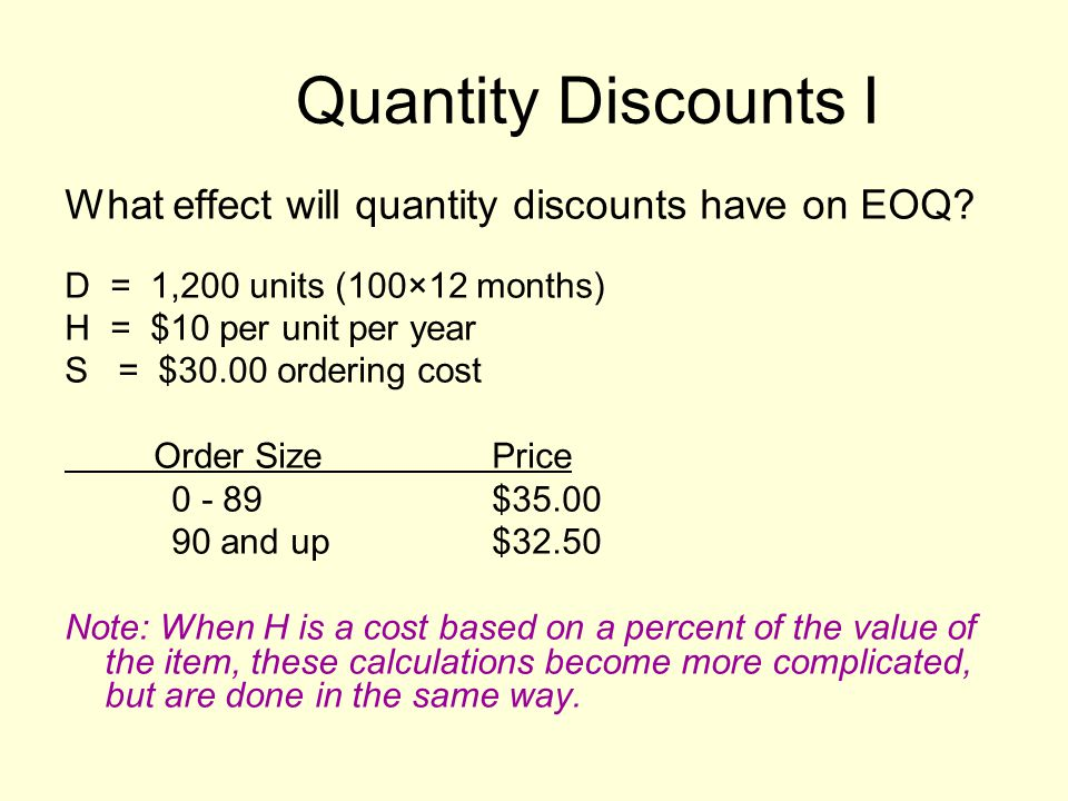 Quantity Discounts I What effect will quantity discounts have on EOQ