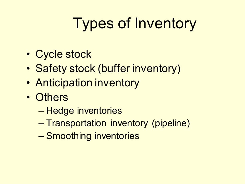 Types of Inventory Cycle stock Safety stock (buffer inventory)