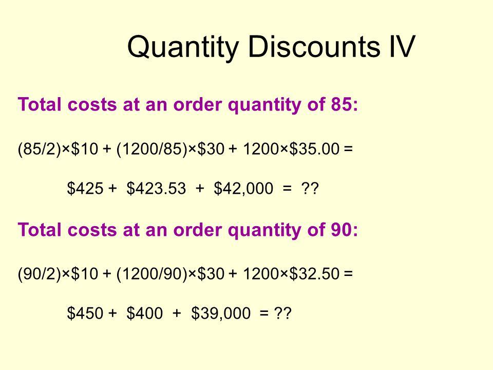 Quantity Discounts IV Total costs at an order quantity of 85: