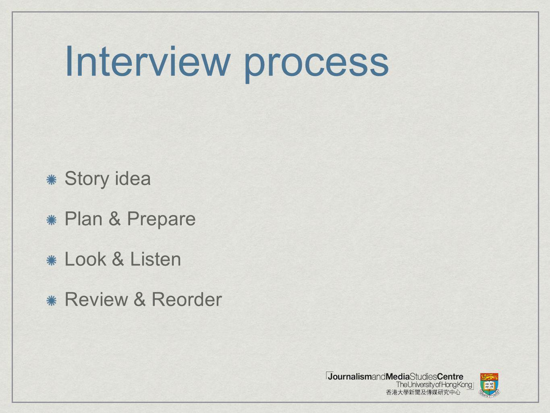 Interview process Story idea Plan & Prepare Look & Listen