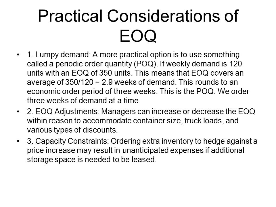 Practical Considerations of EOQ